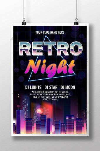 Cartel de evento de fiesta de luces de la ciudad de noche retro de los 80 s Modelo PSD
