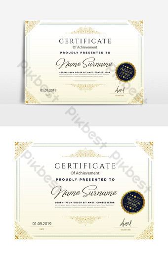 Modello di certificato gradiente semplice poster aziendale scritto a mano Sagoma AI