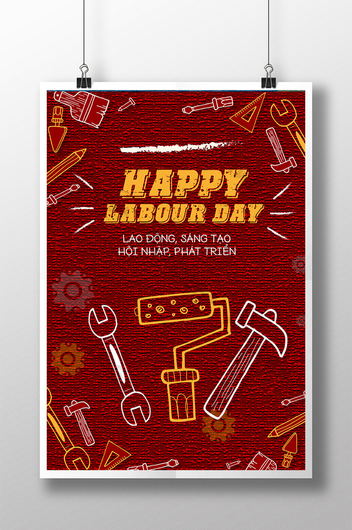 poster chào mừng ngày quốc tế lao động sáng tạo