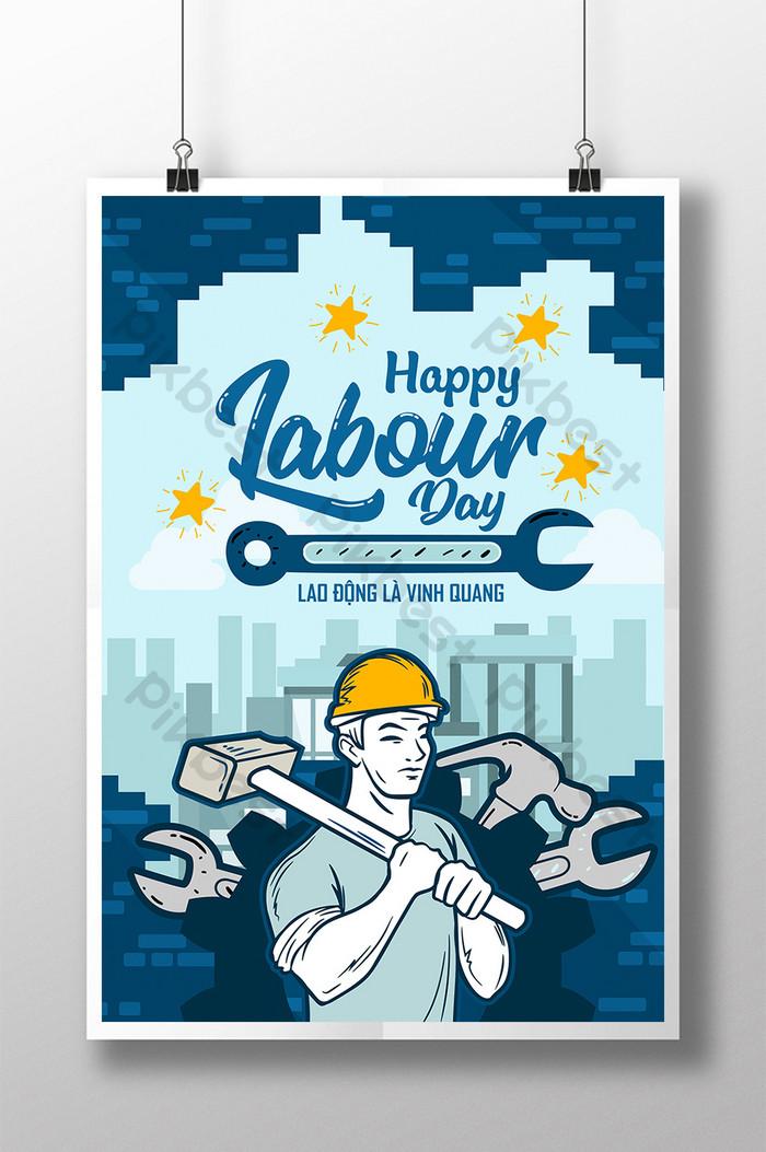 poster kỷ niệm ngày quốc tế lao động vinh quang