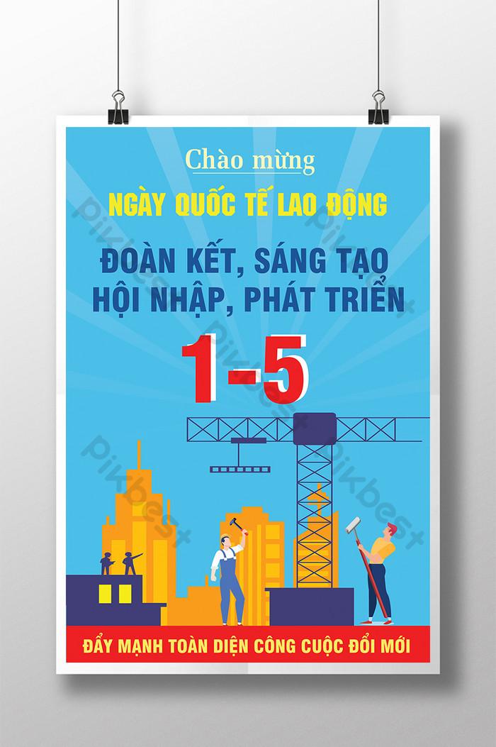 ngày quốc tế lao động đoàn kết sáng tạo poster tích hợp