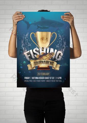 Tournoi de pêche flyer psd Modèle PSD