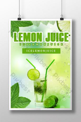 ملصق عصير الليمون الحامض الأخضر قالب PSD