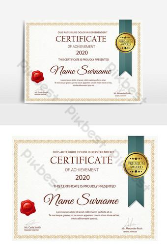 plantilla de certificado universitario de estilo simple y patrón Modelo AI
