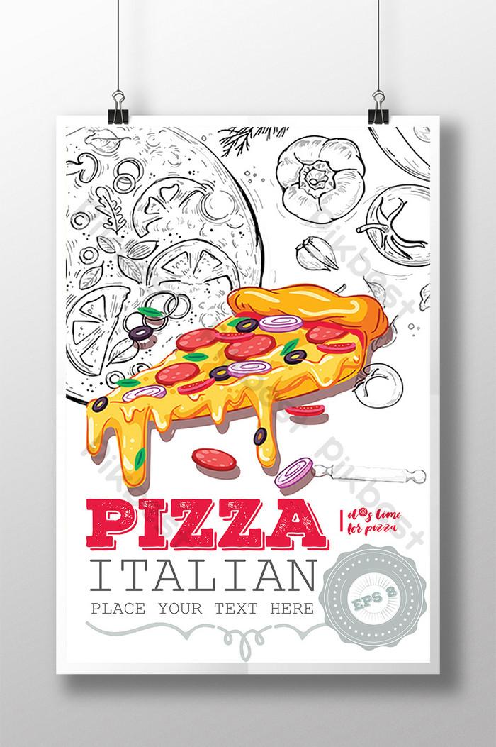 poster sáng tạo thức ăn pizza