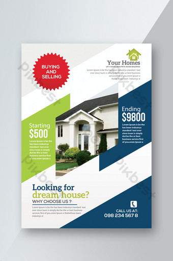Simple Business Style Buy and Sell Houses Poster and Ad Templates Template PSD
