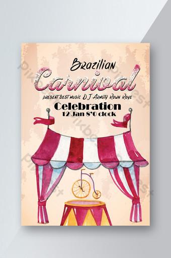 Modèle de Flyer de spectacle de célébration du carnaval brésilien Modèle PSD