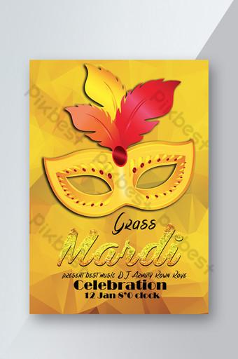 Modèle de Flyer d'événement de carnaval de style doré couleur jaune Modèle PSD