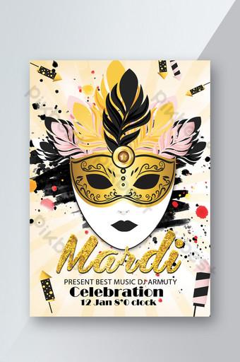 Flyers d'annonce de fête de célébration de carnaval Mardi Gras Modèle PSD