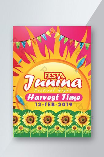 Festa Junina Flyer Template With Sunflowers Template PSD