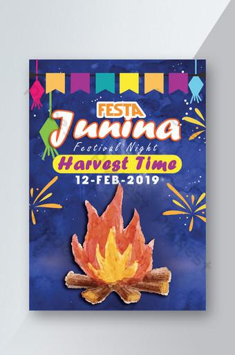 Festa Junina & Bone Fire Celebration Flyer Templates Template PSD