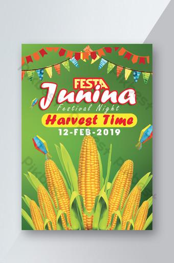 Festa Junina Corn Harvest Flyer Templates Template PSD