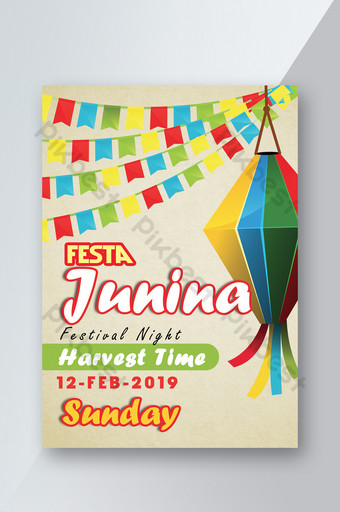 Festa Junina Time Is Here Poster Template PSD