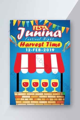 Festa Junina Celebration Party Time Flyer Template PSD