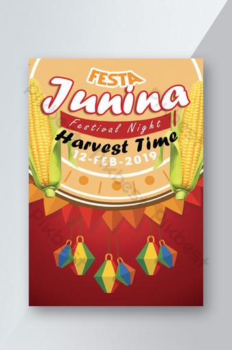 Festa Junina Flyer Template With Corns Template PSD