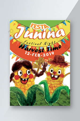Nature Style Harvest Time Festa Junina Flyer Template PSD