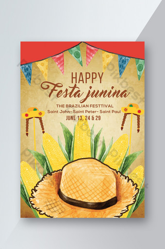 Golden Style Festa Junina Fest Flyer Template PSD