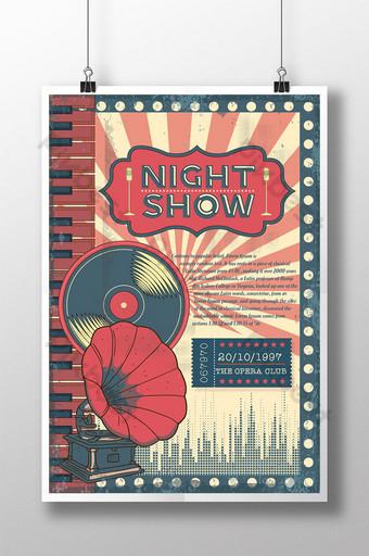 cartel de espectáculo nocturno de música retro Modelo PSD