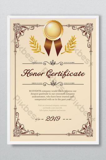 Dyplom Certyfikat Honorowy Wzór Autoryzacji Nadający Koronkowe Obramowanie Proste Europejskie Szablon PSD