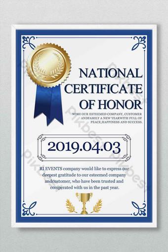 Dyplom Certyfikat Honor Wzór Medal Nagroda Niebieska Ramka Prosty Kontynentalny Szablon PSD