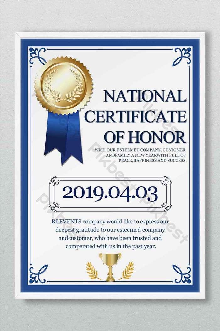 dyplom certyfikat honor wzór medal nagroda niebieska ramka prosty kontynentalny