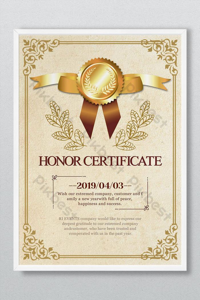 dyplom certyfikat honorowy wzór autoryzacji nadający złotą ramkę prosty europejski