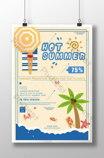 Sunshine and beach summer promotion poster Template PSD