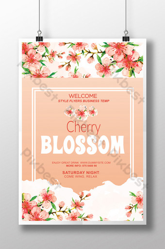 Modèles de flyers uniques de fleurs de cerisier de style romantique chaud Modèle PSD