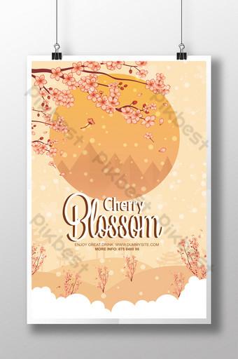 Derniers modèles de flyers de style de paysage de fleurs de cerisier Modèle PSD