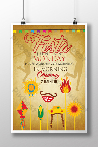 Festa Junina Praise Worship Coy in Morning Ceremony Party Flyer template Template PSD