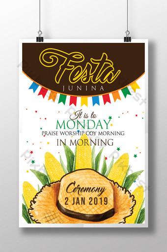 Festa Junina Harvest Monday Praise Worship Coy Morning Time Flyer Template PSD