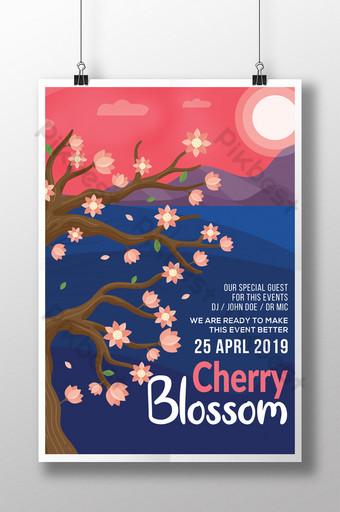 Contrasted Purple Cherry Blossom Season Landscape Flyer Templates Template PSD
