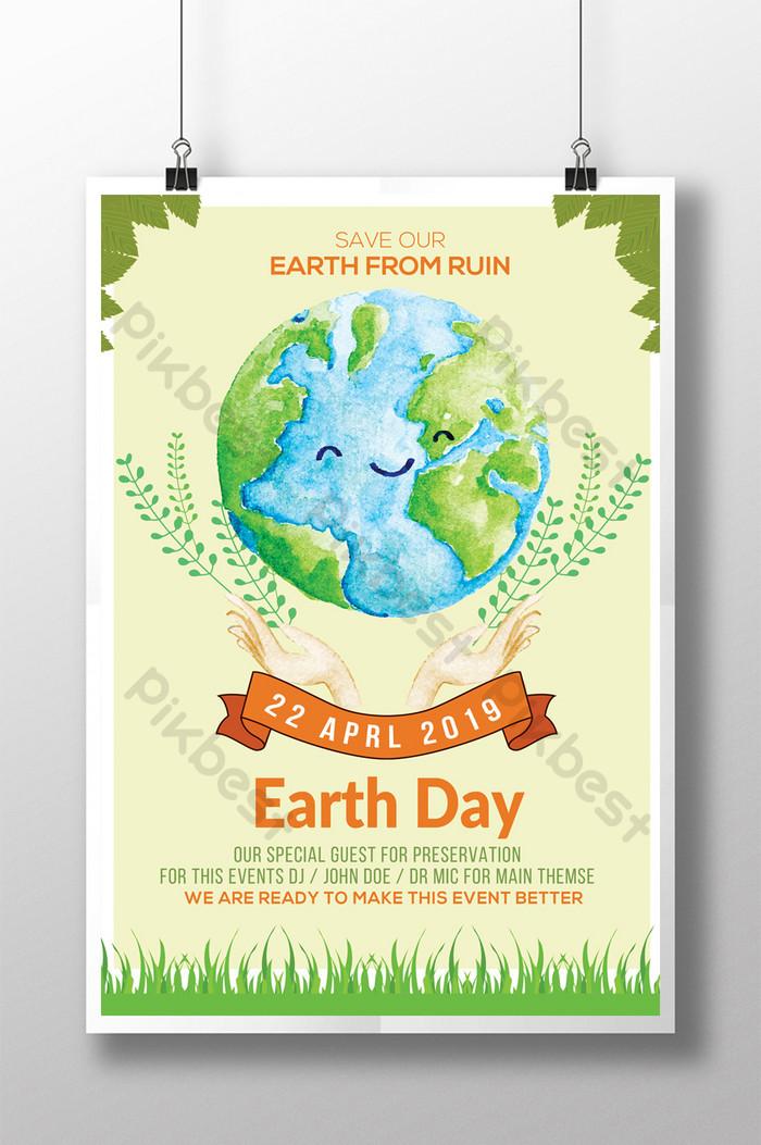 慶祝世界地球日環境保護傳單模板