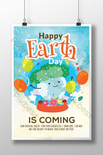 Modèles de flyers de jour de la terre de couleur de l'eau de style dessin animé Modèle PSD