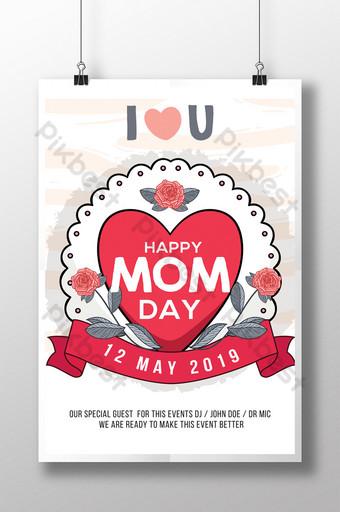 Modèles de flyers psd de jour de maman heureuse de style simple s'épanouissent mignon Modèle PSD