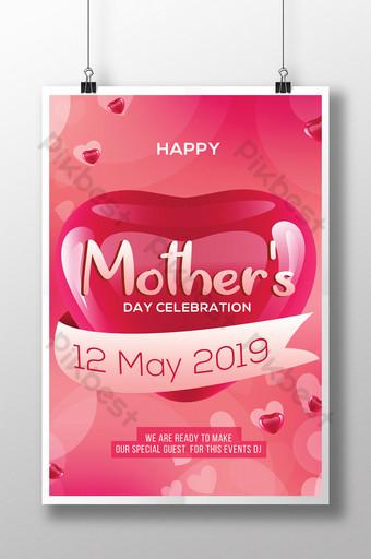 Modèles de flyers pour la fête des mères avec de beaux coeurs Modèle PSD