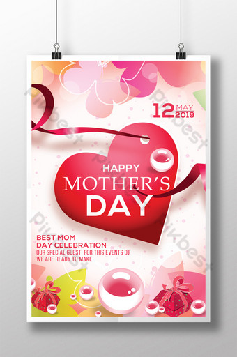 Flyer de la fête des mères de réunion reconnaissante avec beau coeur Modèle PSD