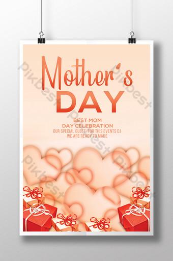 Modèle de Flyer de coeurs scintillants dispersés pour le brunch de la fête des mères Modèle PSD