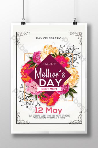 Flyers de bouquet de fleurs pour la fête des mères Modèle PSD