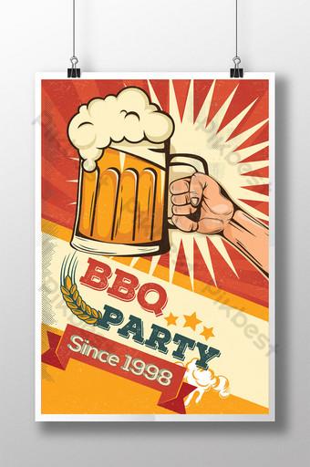 Fiesta de barbacoa y cerveza en cartel de estilo de dibujos animados retro y cómico Modelo AI