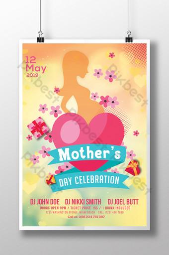 Modèles de flyers de coeur centré sur la fête des mères Modèle PSD
