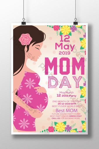 Flyer de fête des mères floral rose style bande dessinée et dessin animé Modèle PSD