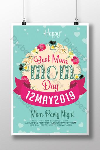 Style vintage et floral avec des modèles de flyers pour la fête des mères Modèle PSD