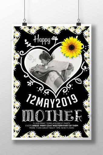 Modèles de flyers pour la fête des mères de tableau de couleur forte fleurie Modèle PSD