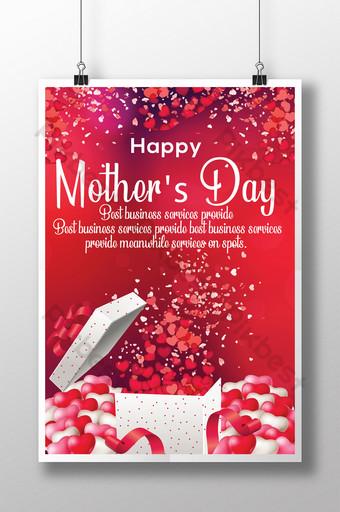 Fond rouge avec des modèles de flyers de jour de maman heureuse coeurs Modèle PSD