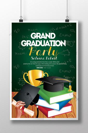 Grand Graduation Party dans le modèle de Flyer de style vectoriel Modèle PSD