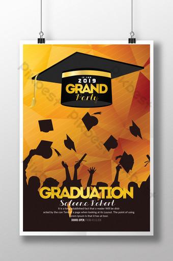 Graduation et modèle de flyer éducatif avec des chiffres en silhouette sur fond doré Modèle PSD