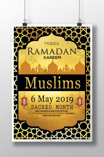 Plantilla de volante psd de Ramadán negro con mezquitas y marco estrellado en tema dorado Modelo PSD