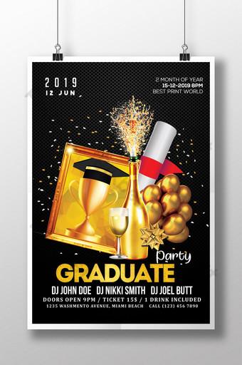Nouvelle affiche de graduation avec modèle de champagne doré Modèle PSD