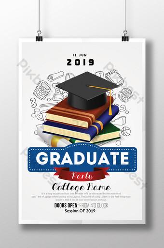 Invitation d'annonce de graduation avec des livres et un modèle de bannière Modèle PSD